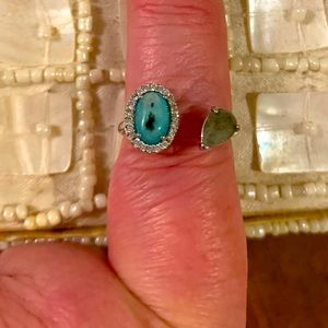 Adjustable silver ring with 2 stones.